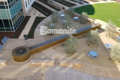 The process of creating this restorative fountain outside of the Clovis Community Medical Center consisted of forming the walls, sourcing the hard to locate epoxy coated rebar, and pouring Bomanite smooth-troweled, integrally colored concrete, and the finished product is a stunning feature in this healing garden.