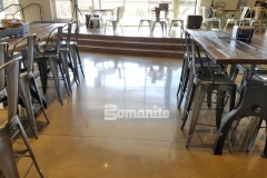 Bomanite Patene Teres custom polished concrete was installed inside the Northside Christian Church to complement the contemporary design of the café area while providing a beautiful and durable flooring surface.