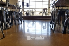 Bomanite Patene Teres was installed here to provide a custom colored, polished concrete flooring surface and was the perfect choice to complement the contemporary design that was desired for this coffee shop space.