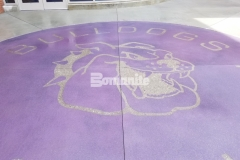 Bomanite Exposed Aggregate Alloy was the product of choice to create a custom designed piece of art at Harrisburg High School and by incorporating this beautiful purple color hardener and engraving of the text and mascot at the center, a unique feature was created for the school staff and students to enjoy for many years to come.