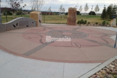 Centennial Center Park features beautiful Bomanite Sandscape Texture decorative concrete, which was chosen for its ability to provide consistent texture and durability while adding creative design and coloration to the hardscape surfaces throughout the park.