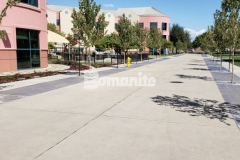 Featured here is Bomanite Sandscape Texture decorative concrete that was installed to create a durable hardscape surface with consistent texture, resulting in a beautifully distinct hardscape surface that will accommodate vehicle and pedestrian traffic at Valley Children's Hospital.