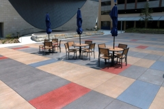 I love the vibrant pops of color that were incorporated into this Bomanite Sandscape Texture decorative concrete because the stain pattern adds unique detail to the hardscape surface for added visual interest.