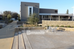 This stunning, decorative concrete hardscape was created using Bomanite Sandscape Refined Antico to create a durable and distinctive courtyard area that complements the adjacent Bomanite Sandscape Texture concrete for a congruent connection between multiple outdoor areas at this church.