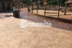 Featured here is Bomanite Bomacron Regular Slate imprinted concrete that was expertly installed by our colleague, Harrington Bomanite, to create a durable decking surface around this water feature at Canobie Lake Park that adds texture and dimension to the hardscape while providing distinctively beautiful detail.