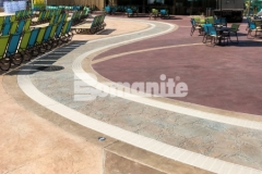 This spectacular hardscape surface was created using Bomanite Imprint Systems and features multiple Bomacron patterns including Garden Stone, Boardwalk, Sandstone Texture, and Slate Texture that all come together flawlessly to add distinctive design detail to this decorative concrete hardscape.