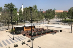 """Bomanite Bomacron stamped concrete was expertly installed here by Bomel Construction Company using the 11.5"""" Boardwalk pattern to create a contrasting gray walkway that adds unique character to the Northwest Plaza entrance at LAFC Stadium."""