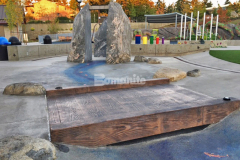 Our colleague Belarde Company installed a variety of hardscape surfaces throughout Downtown Bellevue Park, including this stamped concrete bridge that was created using Bomanite Imprint Systems and features the Bomacron 12-inch Boardwalk pattern, which was perfect to provide a unique playground feature in this interactive play area.