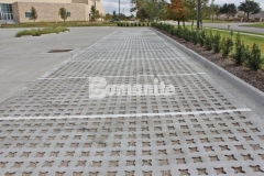 Bomanite Grasscrete was installed here using biodegradable Molded Pulp Formers and the voids were filled with crushed stone which allowed for a decrease in the overall impervious percentage on the site and allowed for proper stormwater drainage.