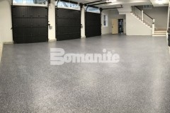 Our colleague, Premier Concrete Construction, installed Bomanite Broadcast Flake Toppings System to create a solution for a badly poured concrete garage foundation and the salt and pepper finish provides an architectural design element while providing a protective flooring surface.