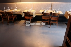 This beautifully transformed flooring inside the Elmwood restaurant was installed by our colleague, Musselman & Hall Contractors using Bomanite Micro-Top with Bomanite Shale Gray tint and they applied the finish coat with steel trowels to create character that emulates the look of a hard-troweled concrete floor.